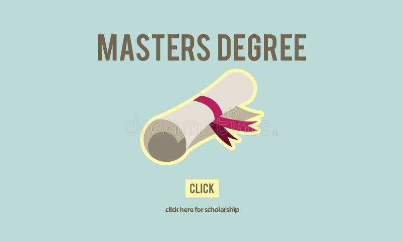 Master& x27 ; concept d'obtention du diplôme d'éducation de la connaissance de degré de s illustration de vecteur