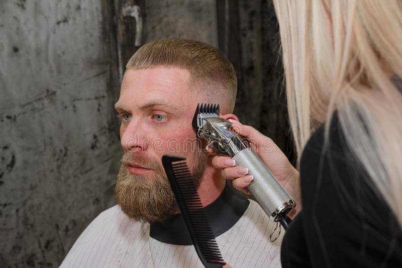 Master cuts hair and beard of men in the barbershop. Barber work with clipper machine in barbershop royalty free stock image
