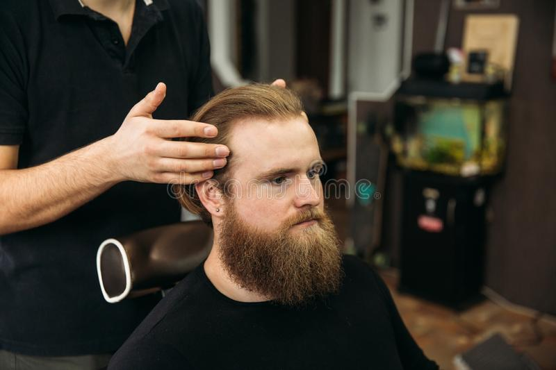 Master cuts hair and beard of men in the barbershop, hairdresser makes hairstyle for a young man stock photo