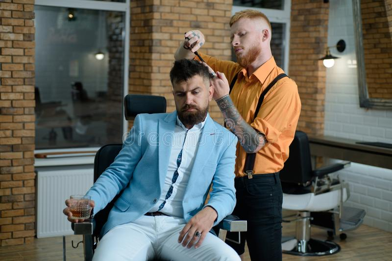 Master hairdresser does hairstyle and style with scissors and comb. Portrait of stylish man beard. Hair Stylist and royalty free stock images