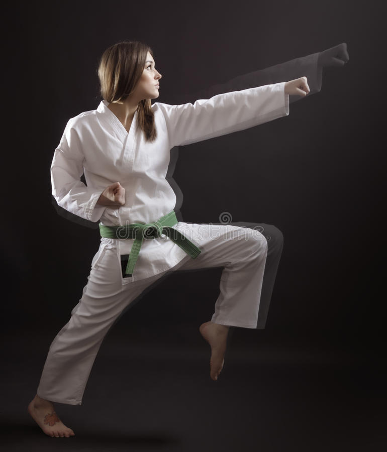 Master of karate performs a straight punch. royalty free stock photography