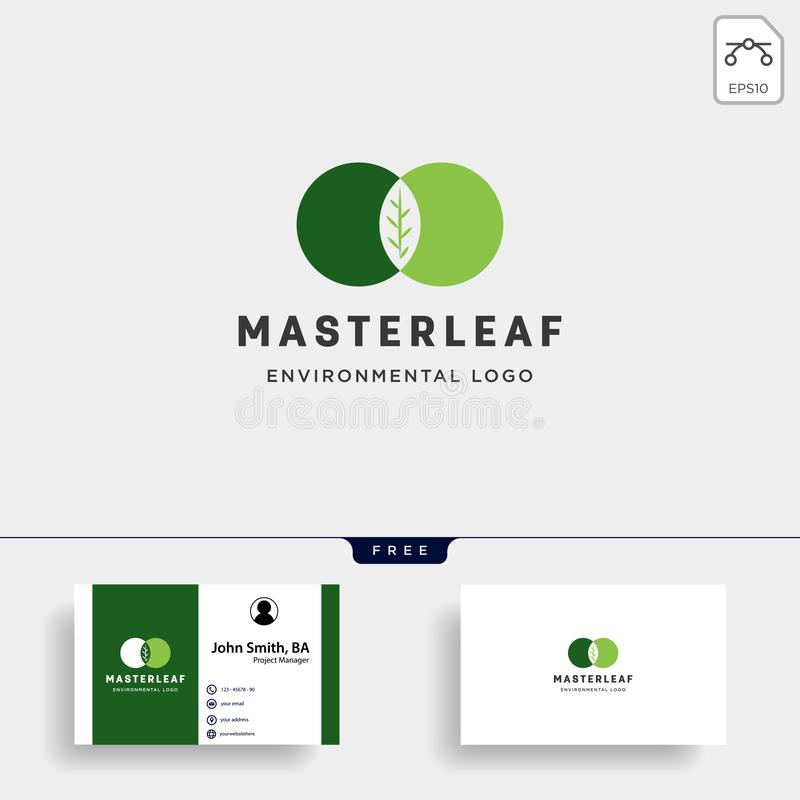 Master leaf circle abstract simple logo template vector illustration icon element. With business card vector illustration