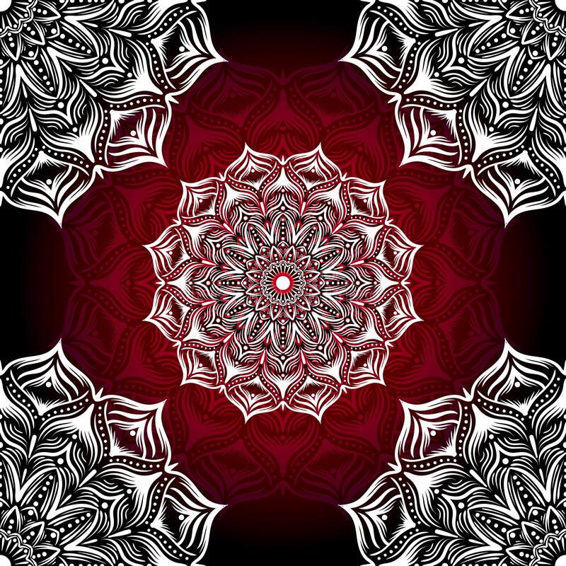 Seamless red/white mandala hand drawn stock vector design. stock image