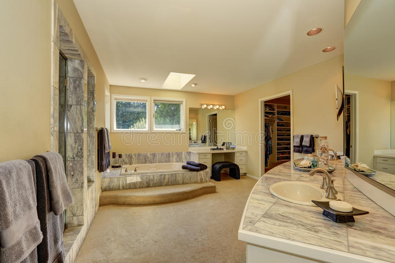 master marble bathroom interior with walk in closet carpet floor and vanity with drawers northwest usa
