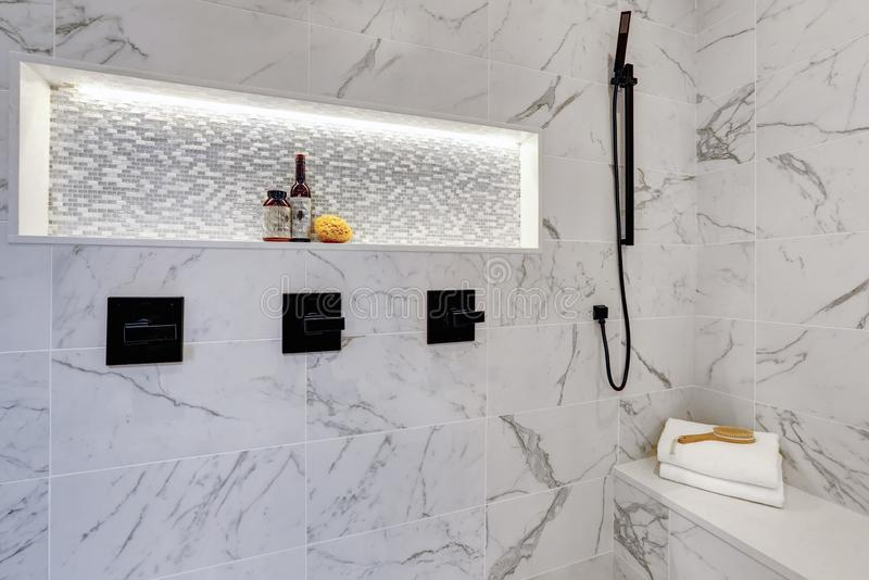 Master modern bathroom interior in luxury home with white showe stock photo