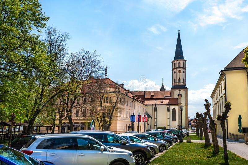 Master Paul's Square with Town hall and Basilica of St. James in Old town of Levoca - UNESCO SLOVAKIA. Master Paul's Square with Town hall and royalty free stock image