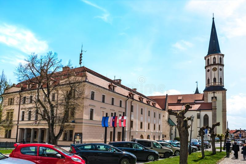 Master Paul's Square with Town hall and Basilica of St. James in Old town of Levoca - UNESCO SLOVAKIA. Master Paul's Square with Town hall and stock images