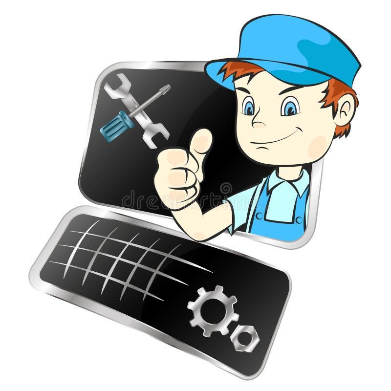 Repair of computer equipment stock illustration