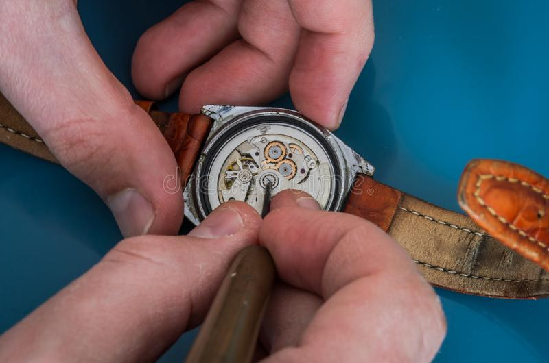 Master repairs the disassembled mechanical watch royalty free stock photos