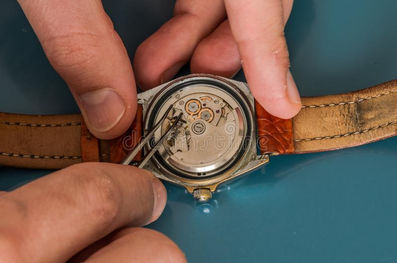 Master repairs the disassembled mechanical watch.  royalty free stock photo