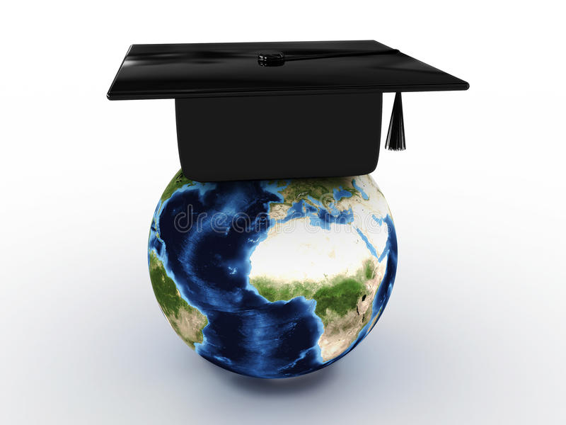 Master's cap for graduates in the globe. 3D royalty free illustration