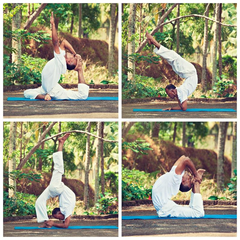 Master of yoga in india. Yoga in nature. excercises in progress.Collage royalty free stock photo