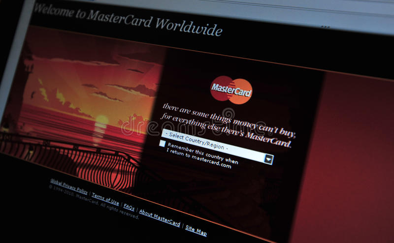 Download MasterCard.com Main Internet Page Editorial Photography - Image of budget, debit: 17362997