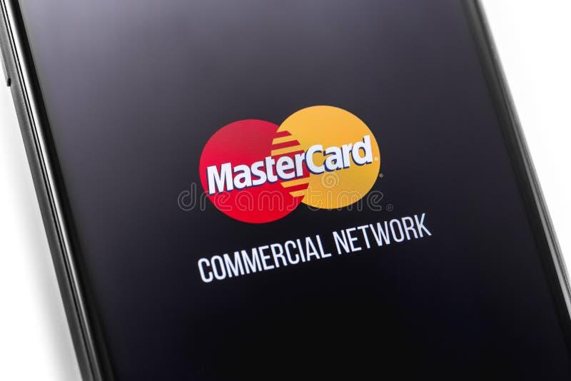 Mastercard-embleem op het scherm stock fotografie
