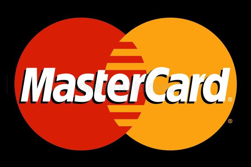 MasterCard-Firmenzeichen druckte auf Papier auf schwarzem Hintergrund stock abbildung