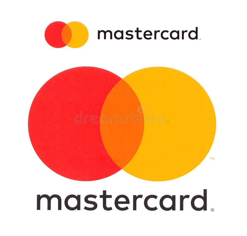 Mastercard logo printed on paper stock images