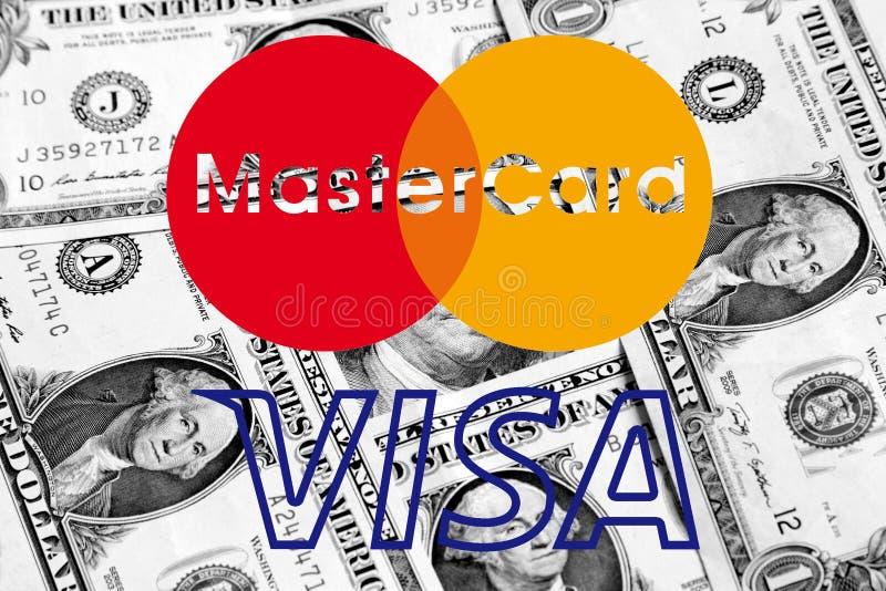 MasterCard und Visumslogo auf Geld stock abbildung