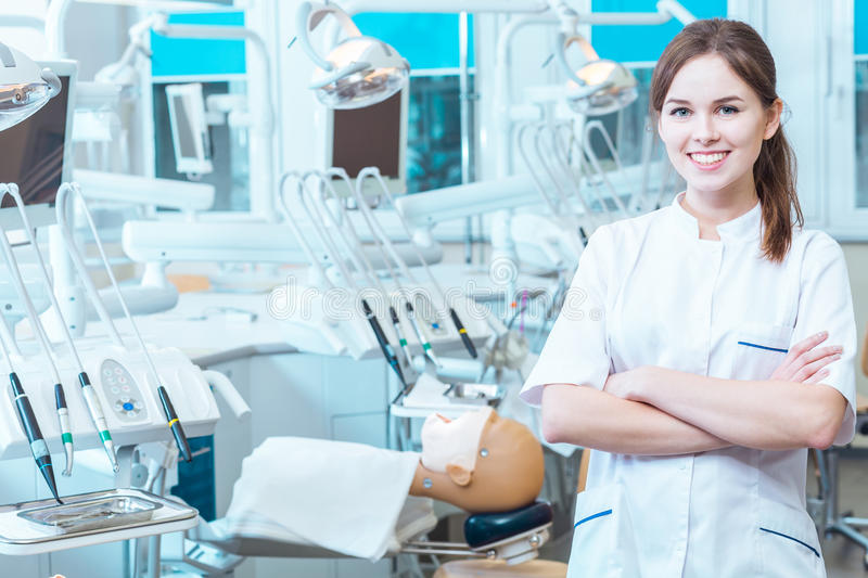 Mastering her skills in a professional laboratory royalty free stock photos