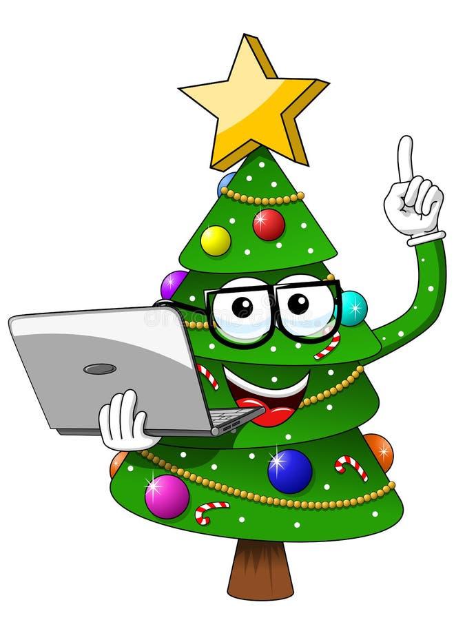 Masterl del ordenador portátil de los vidrios del empollón del carácter de la mascota del árbol de navidad de Navidad ilustración del vector