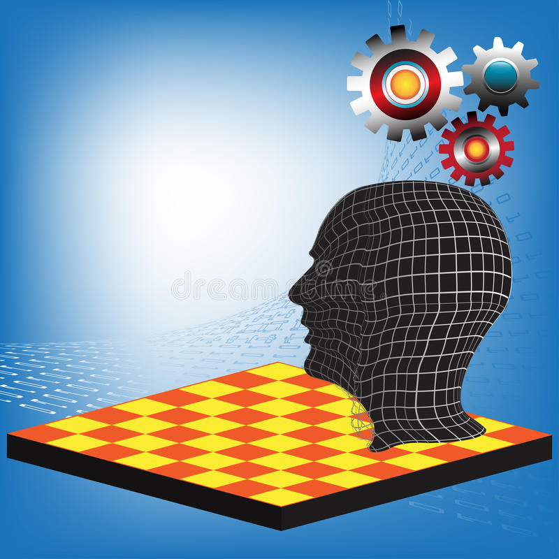Mastermind. Abstract colorful illustration with human head standing on a chessboard with colorful gears above his head. Mastermind concept royalty free illustration