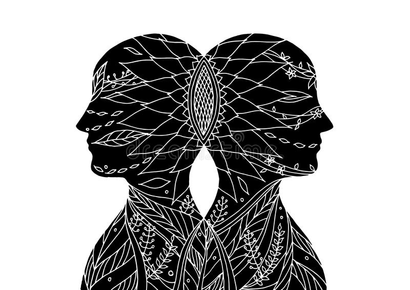 Mastermind, poder do chakra, pensamento abstrato junto, o mundo, universo dentro de sua mente, vetor ilustração stock