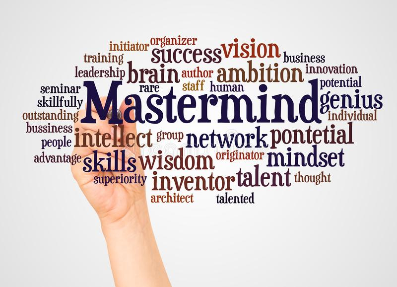 Mastermind word cloud and hand with marker concept. On white background royalty free illustration