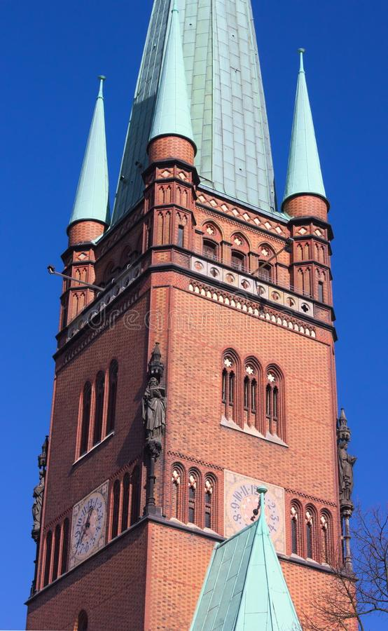 St. John`s Cathedral - I - Hamburg - Germany. A masterpiece of the hanseatic brick gothic- the St. John`s Cathedra in Hamburg - shot in 2014 royalty free stock image