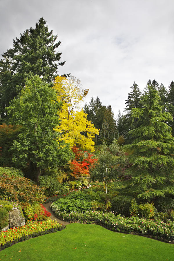 Masterpiece of landscape gardening art. Butchard -garden on island Vancouver in Canada royalty free stock images