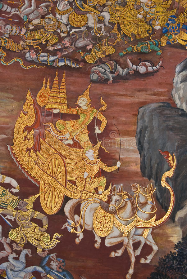 Free Masterpiece Of Traditional Thai Style Painting Art Royalty Free Stock Images - 17606499
