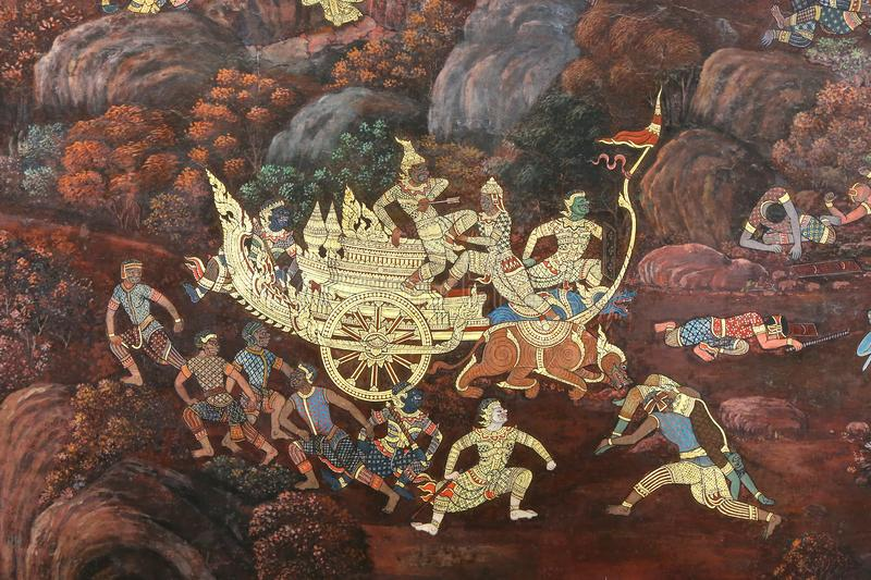 Masterpiece of traditional Thai style painting art old about Ramayana story on temple wall at Watphrakaew, Bangkok,Thailand stock images