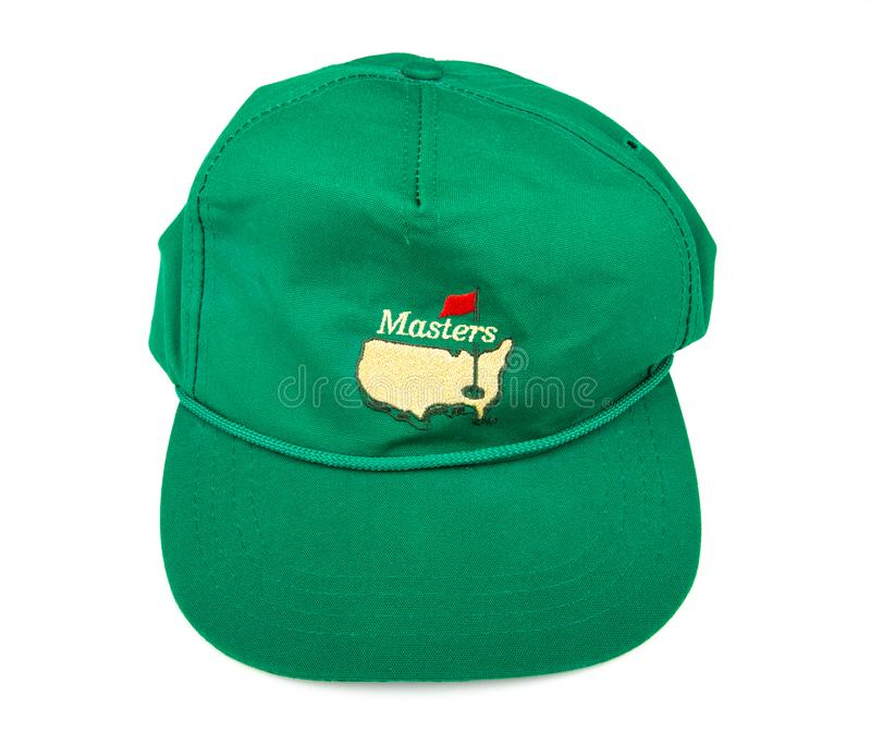 Masters Hat. ATLANTA, GEORGIA - March 2, 2017: A green hat from the Masters golf tournament in Augusta, Georgia royalty free stock image