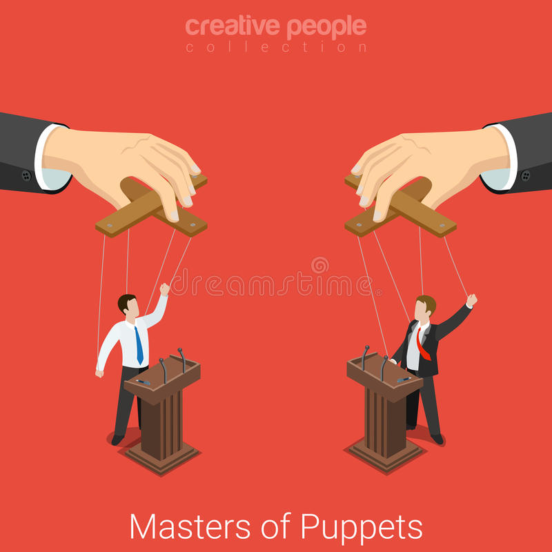 Masters of Puppets politics election flat 3d vector isometric vector illustration