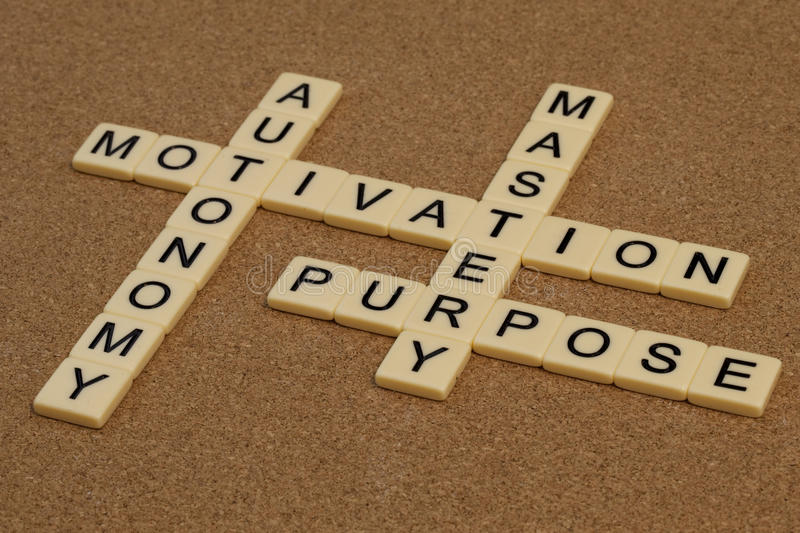 Mastery, autonomy, purpose, motivation. Three elements of true motivation - mastery, autonomy, purpose - crossword with ivory letter blocks on cork board stock images