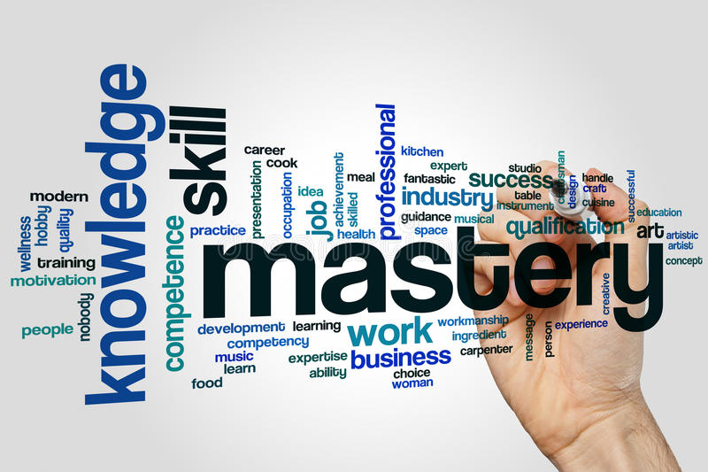 Mastery word cloud. Concept on grey background royalty free stock photo