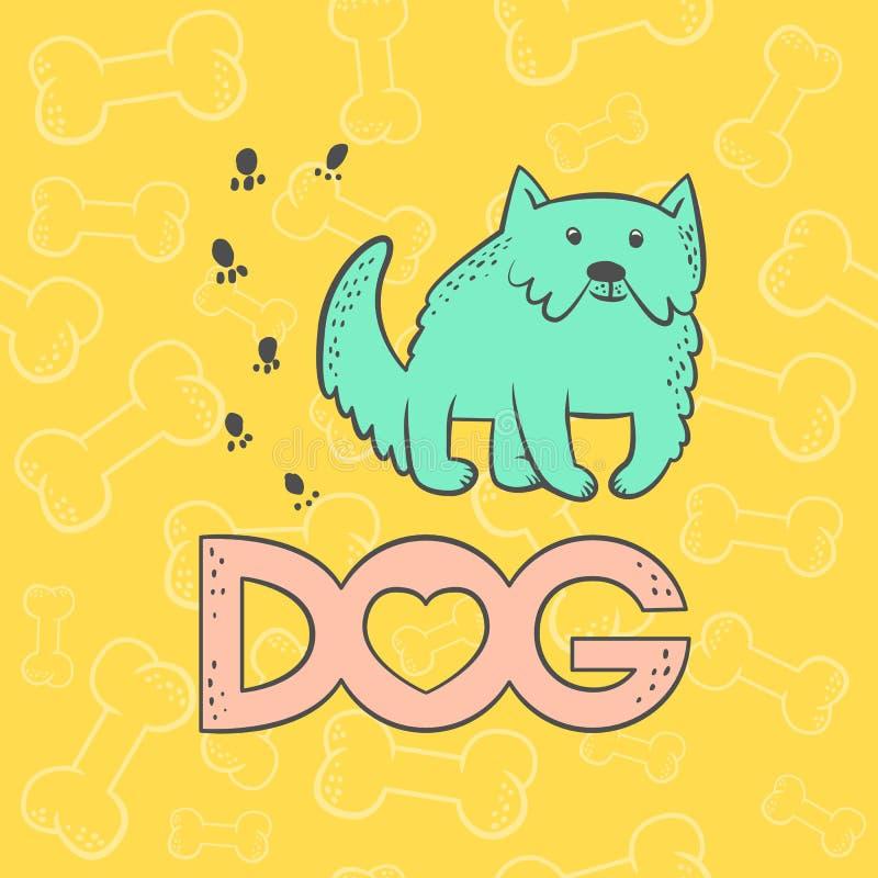 Mastiff собаки вектора милый Смешной персонаж из мультфильма животного карикатуры Красочное карточки контура плоским ярким изолир иллюстрация вектора