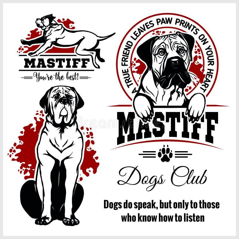 Mastiff - ensemble de vecteur pour des insignes de T-shirt, de logo et de calibre illustration libre de droits