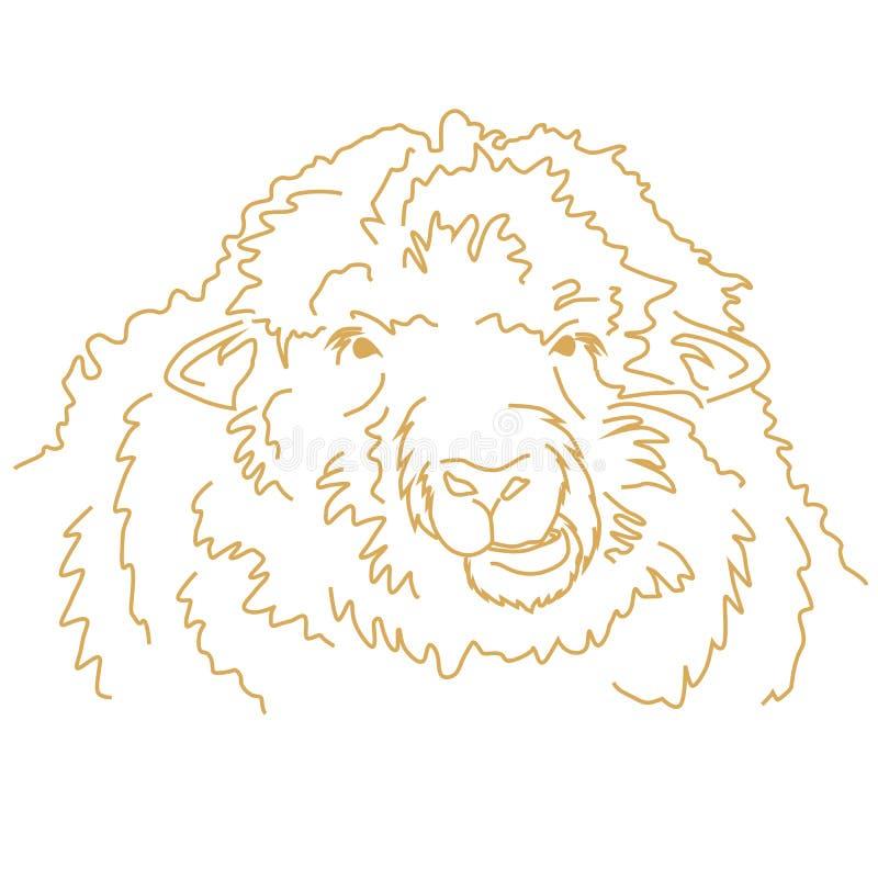 Mastigação engraçada dos carneiros A lápis desenho do vetor ilustração stock
