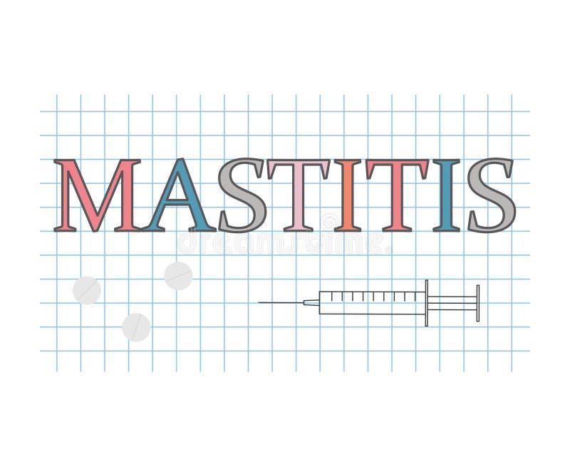 Mastitiswoord op geruit document blad vector illustratie