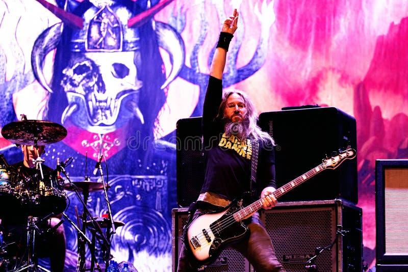 Mastodonschwermetallband führen im Konzert Downloadam schwermetallmusikfestival durch lizenzfreies stockbild