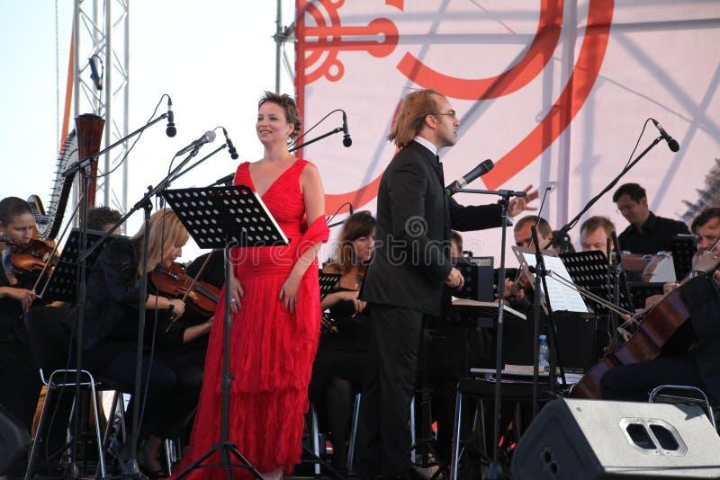 Mastrangelo italien de Fabio de soprano de schillaci de Daniela d'étoile d'opéra de diva (théâtre La Scala, Italie) et de chef d' images libres de droits