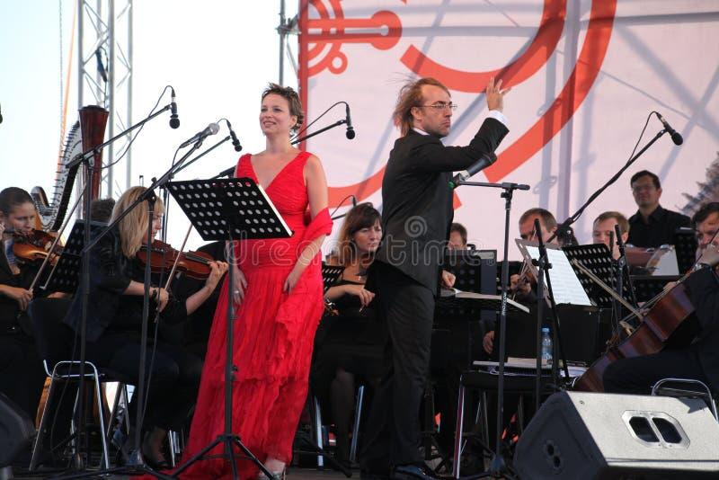 Mastrangelo italien de Fabio de soprano de schillaci de Daniela d'étoile d'opéra de diva (théâtre La Scala, Italie) et de chef d' photos libres de droits