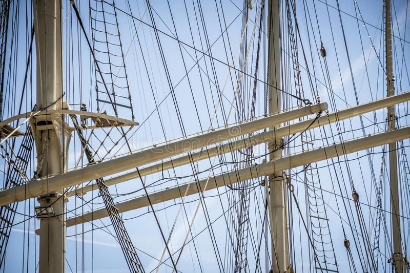 Masts and rigging of a large sailing ship in the Port of Hamburg. Germany stock photography