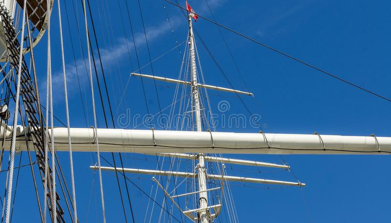 Masts and rigging of a large sailing ship in the Port of Hamburg. Germany royalty free stock photos