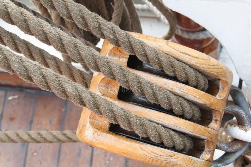 Masts and Sails. Old sailing ship masts and sails and rigging royalty free stock photography