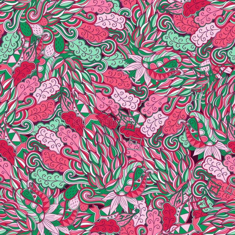 Maswerku mehndi etniczny ornament Nieszezególny dyskretny uspokaja motyw, używalny doodling kolorowy harmonijny projekt wektor royalty ilustracja