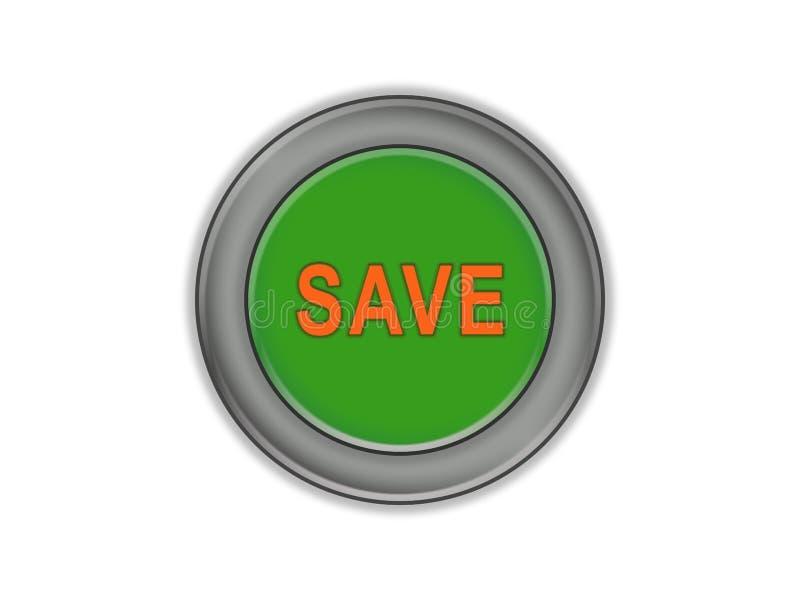 Masy zieleni guzik biały tło który mówi SAVE, ilustracja wektor