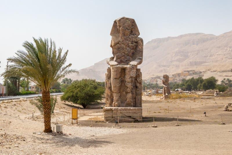 Masywna statua Amenhotep III na zachodnim banku Nil, Luxor, Egipt obrazy royalty free