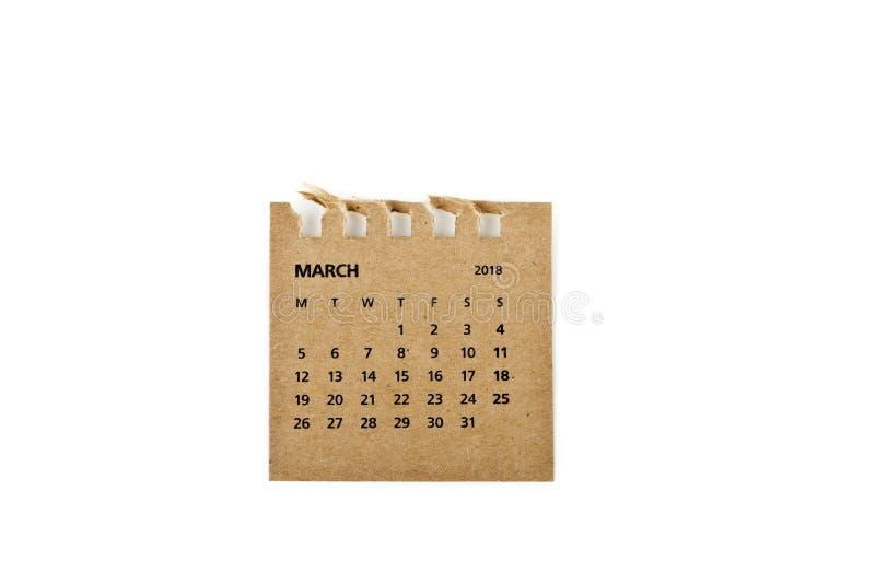 maszerujący Kalendarzowy prześcieradło na bielu obraz royalty free