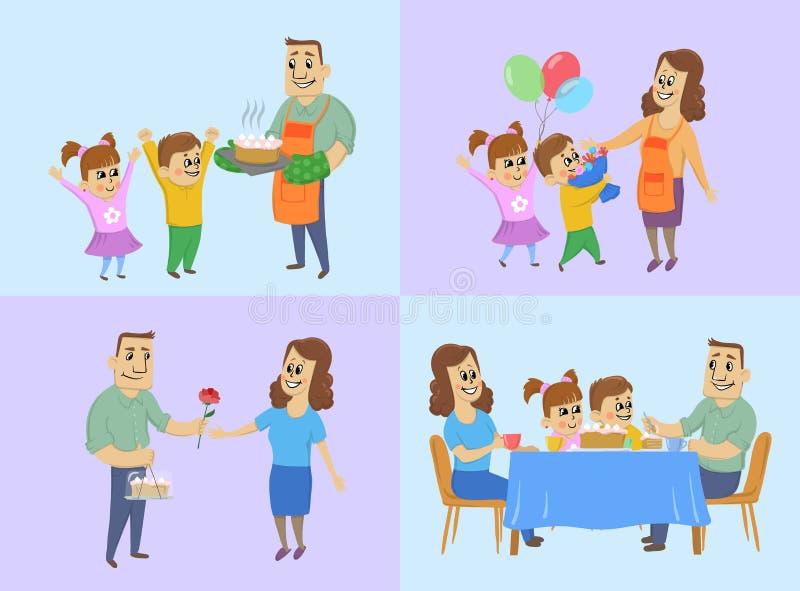 Maszeruje 8, międzynarodowy kobiety ` s dnia pojęcie Mąż i dzieci przygotowywamy tort, dajemy prezentom mama i gościa restauracji ilustracji