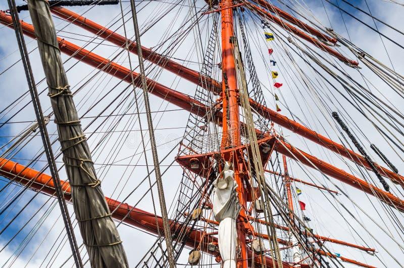 Masztowy historyczny żeglowanie statek, zakończenie zdjęcie stock